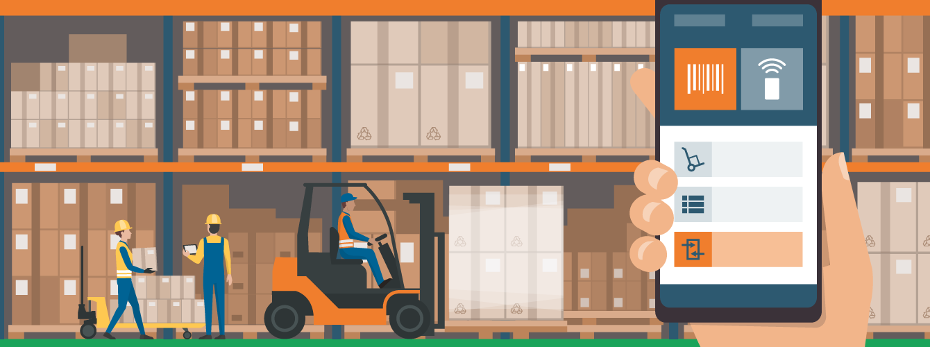 Illustration of a warehouse with forklift and workers. Hand holding smart phone in foreground