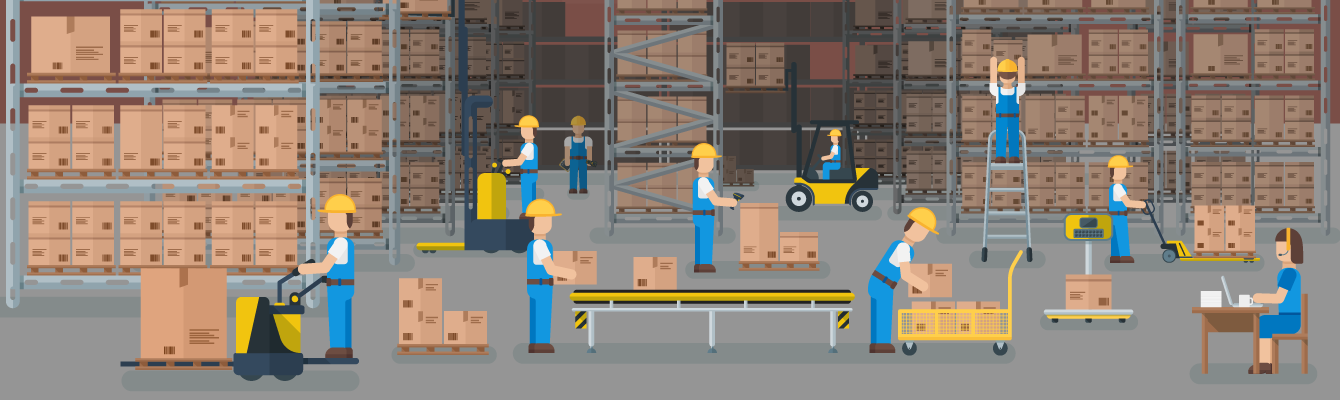 cartoon of warehouse employees in logistics facility