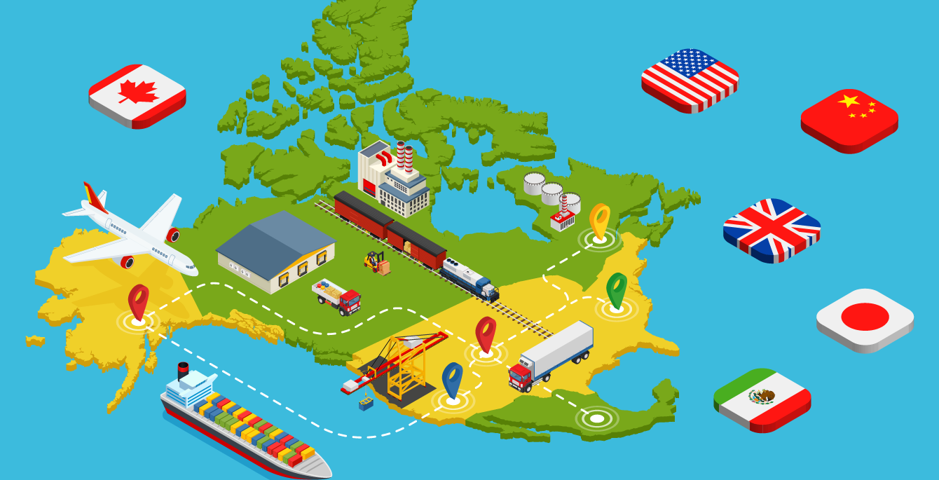 isometric illustration of a map of North America, with flags of Canada, USA, China, UK, China and Mexico shown