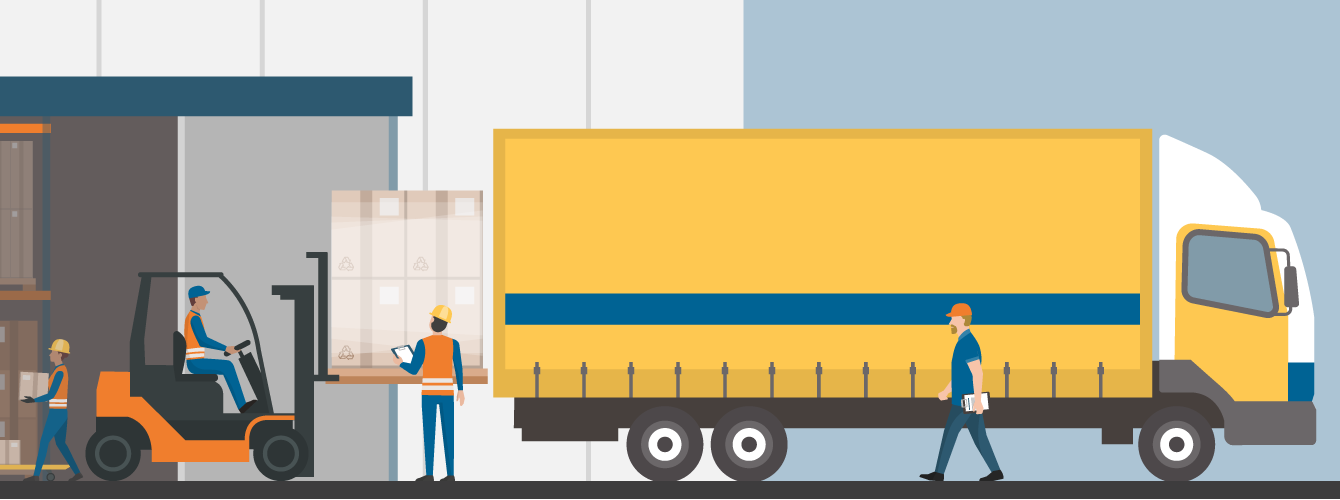 Illustration of a forklift loading a transport truck at a warehouse