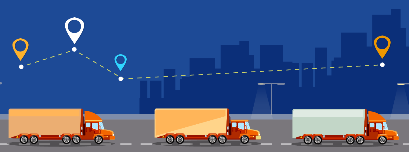 illustration of trucks driving city in background