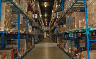 Inside look at an isle at a McKenna Logistics Warehouse