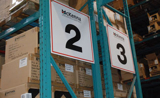 warehouse aisle numbers 2 and 3 in McKenna logistics centre