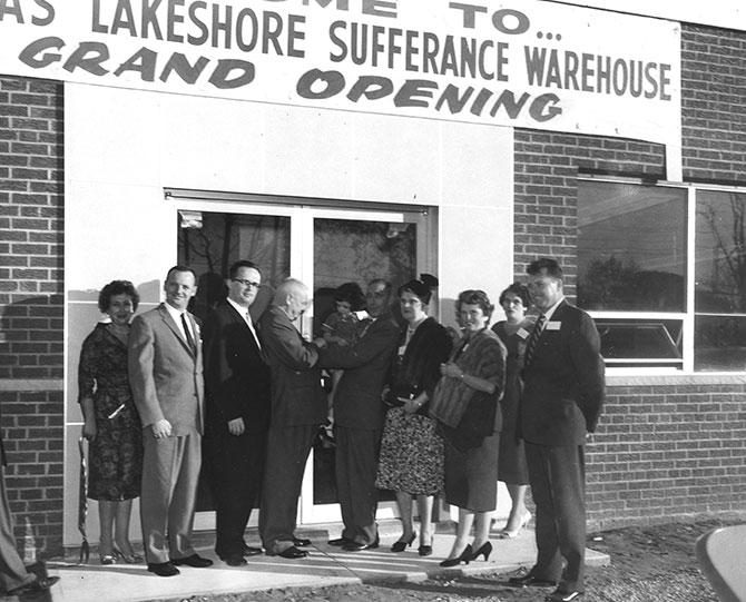 Black and white photo of McKenna Logistics grand opening